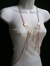 WOMEN GOLD EXTRA LARGE PENDANT METAL BODY CHAIN STYLISH JEWELRY LONG NECKLACE
