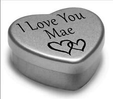 I Love You Mae Mini Heart Tin Gift For I Heart Mae With Chocolates or Mints