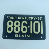 1953 Tour Kentucky Wheaties Cereal Miniature Bicycle Bike License Plate