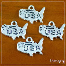 USA Map charms ~PACK of 4~ Tibetan silver America united states silver pendant