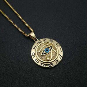 XL Edelstahl Anhänger Auge des Ra Horus Kette Gold Amulett Ägypten Strass