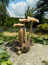 Wooden Mushroom Carving - Hand Carved Mushrooms Toadstools on Parasite Wood 12cm