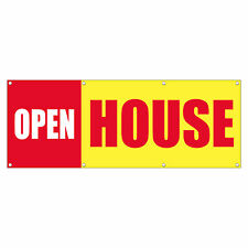 OPEN HOUSE Promotion Business Sign Banner 3 feet x 6 feet /w 6 Grommets