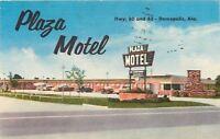 Demopolis Alabama~Plaza Motel~Front View~Cars~1957 Linen Postcard