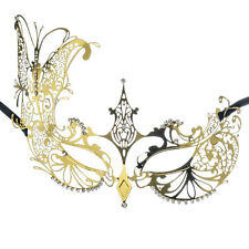 Gold Laser Cut Venetian Butterfly Mask Rhinestones Masquerade MardiGras Costume