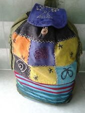 Hippy rucksack washed fabric lined adjustable straps 2 exterior pockets flap top