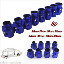 Blue 8pcs Water Temperature Temp Sensor Gauge Joint Pipe Radiator Hose Adapter