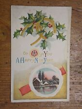 Vintage Postcard To Wish You A Happy New Year, Lake Scene, Horseshoe And Holly