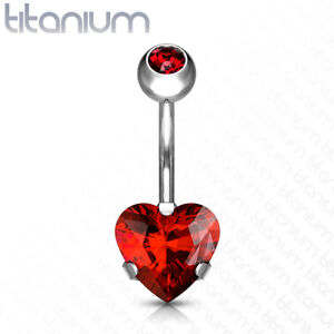 Solid Implant Grade Titanium Heart Gem Belly Button Ring 14g Navel Naval