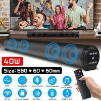 40W Bluetooth 5.0 TV Soundbar Home Theater Surround Speaker Subwoofer USB TF AUX