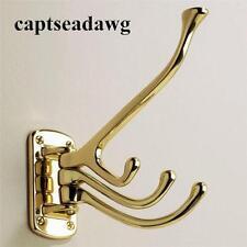 """Nautical Solid Brass Triple Swivel 4 Hook -  5"""""""