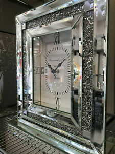Square Mirrored Sparkly Diamond Crush Crystal Large table Clock Bevelled