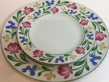 Farberware Stoneware Dorchester White Plates Floral Border 2 Piece Place Setting