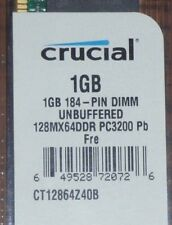 Crucial 1 GB DIMM 128MX64 DDRPC3200 Pb FREE 184 - PIN UNBUFF Memory (CT12864Z4)