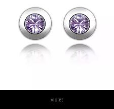 Earrings Round SILVER Plated With Violet Crystal Inspired stone