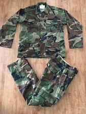 USGI USAF VINTAGE WOODLAND BDU CAMMO TOP AND BOTTOMS EXPOSED BUTTONS RARE
