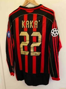 AC MILAN KAKA LONG SLEEVE 2007 CHAMPIONS LEAGUE HOME JERSEY WITH PATCHES