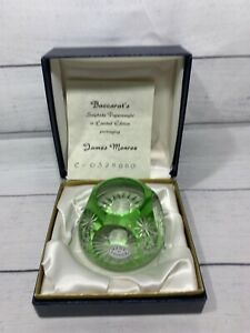 Baccarat Cameo Paperweight Green Crystal James Monroe