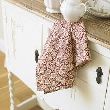 William Morris Mallow Wine Red  Cotton Floral Tea Towel