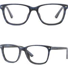 Blaue Herren Damen Kunststoff Holz Klein Applikationen Hochwertig Brillengestell