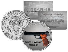 SMITH & WESSON MODEL 41 Gun Firearm JFK Kennedy Half Dollar US Colorized Coin