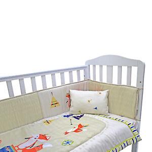 Complete Baby Nursery Cot Bedding Set Bumper Fitted Pillow Sheet Fox Bed Duvet