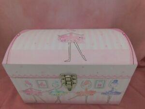 Ballerina Pink Toy Storage Chest Trunk Rope Handles Tri Coastal Design