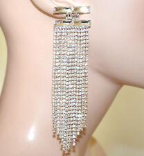 BOUCLES d'oreilles femme cristaux ARGENT pendantes longues strass сережк G52