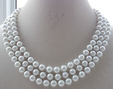 3ROW 8mm White South Sea Shell Round Pearl Beads Necklace 17-19'' T-40805