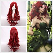 BATMAN Poison Ivy Long Wavy dark Red Anime Cosplay Hair Wig +a wig cap