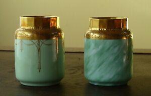 Flower Vases - Pair of Antique Steiner Studio Art Deco Vases with Gold Leaf