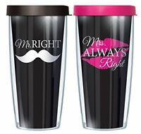 Mr. Right/ Mrs. Always Right Set Wraps Traveler 16 Oz  w/ Pink and Black Lids