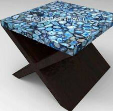"""24"""" Marble Blue Square Agate Table Coffee Top Handcrafted Furniture Decors E1265"""