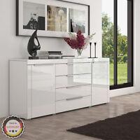 Luxus Highboard in Weiß Hochglanz - Sideboard Kommode MDF Wohnzimmer