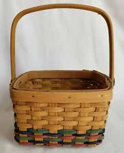 """Vintage Tender Heart Treasures Woven Basket with Moveable Handle 4"""" x 8"""""""