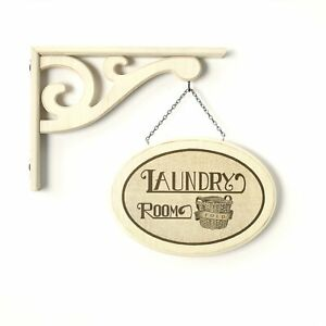 """Hanging Wall Sign """"Laundry Room"""" with Vintage Style Laundry Room Decor"""