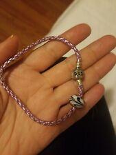 Pandora 925 Charm Bracelet with one 925 bead lilac Nylon Twist