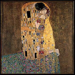 1907 gustav klimt kiss lovers DER KUS print canvas 50cm  unframed painting