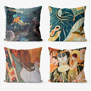 Anime Retro Trippy 4 Pieces Two Sides Printed Cushion Pillow Case Cover