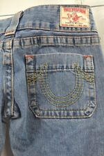 True Religion Sammy Blue Jeans Boot Cut BELL JEAN distressed washed denim 27 NEW