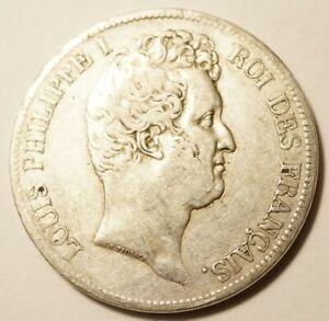 LOUIS-PHILIPPE : ASSEZ RARE 5 FRANCS ARGENT 1831H LA ROCHELLE TETE NUE