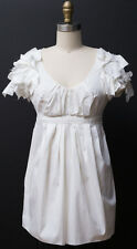 PRADA Pleated Empire Blouse Top Cotton Blend White Size 38 US 2-4
