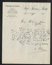 """IZIEUX (42) USINE de LACETS pour CHAUSSURES & MERCERIE """"SUC Freres & Soeur"""" 1916"""