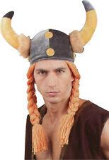 Chapeau Casque Vicking Viking Gaulois MOUSSE avec TRESSES DEGUISEMENT OBELIX