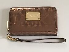 Michael Kors Jet Set Cocoa Metallic Mirror MK Signature Wristlet