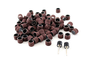 """TEMO 100 PC 1/2"""" Sand Drum Grit 240 Fine with 2 pc 1/8"""" Mandrel Rotary Tools"""