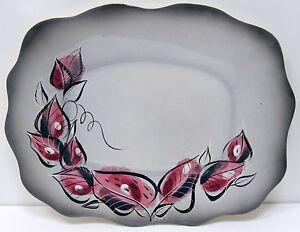 """Sascha Brastoff Porcelain Serving Platter Pink Gray Black Leaves Mid Century 18"""""""