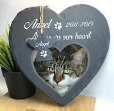 Personalised Pet Memorial Slate Large Heart Grave Marker Stone Plaque Angel 2020