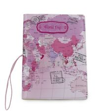 World Trip Map Identity Card Passport Holder Travel Journey Protect Cover Pink