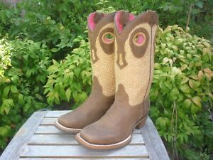 Women's NEW U.S. 9, Mexico 26, B M Gold Rush Brown Weave Western Cowboy Boots